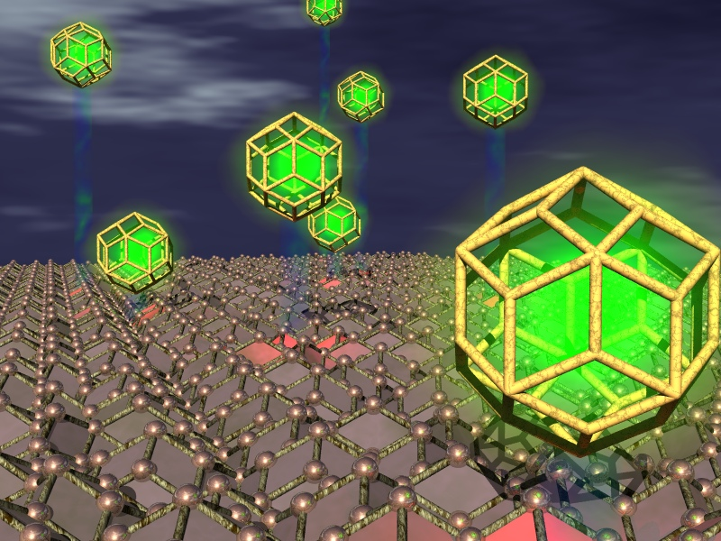 Glowing green rhombic triacontahedra in space